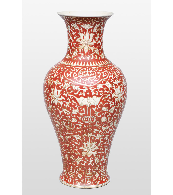 A baluster vase with butterflies and chrysanthemum