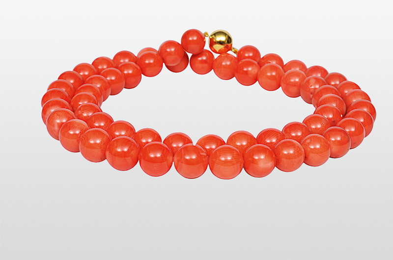 A long coral necklace