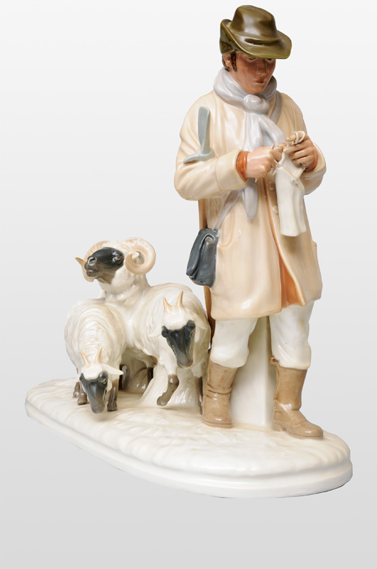 "A tall figurine group ""Resting Shepherd"""