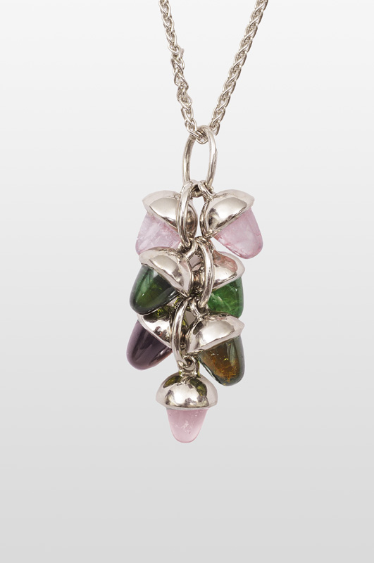 A modern tourmaline pendant with necklace