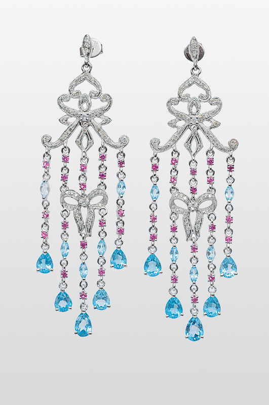 A pair of topaz earpendants with diamonds and pink sapphires
