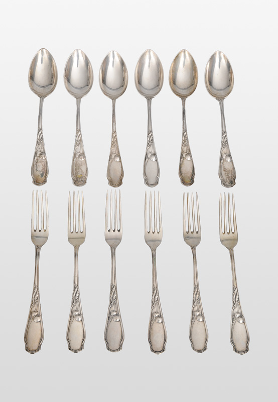 "An Art Nouveau fruit cutlery ""Cherry"" for 6 persons"