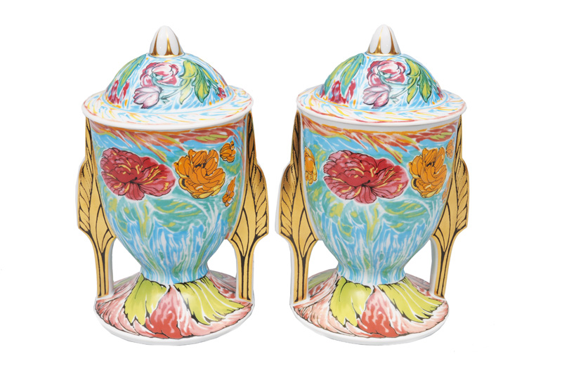 "A pair of artists"" cups with floral decor"