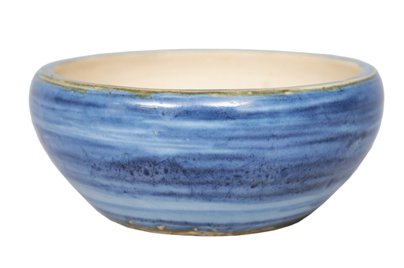 A bowl with blue washed glaze