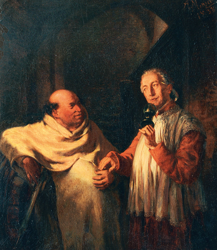 Monk and Priest in a Wine Cellar