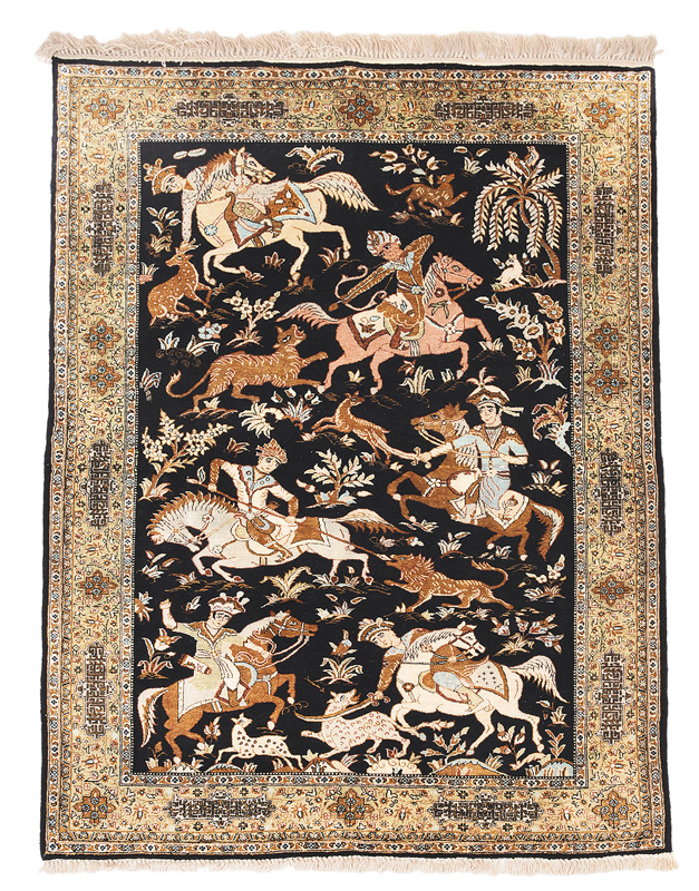 A Ghom carpet with old persian hunting scenes