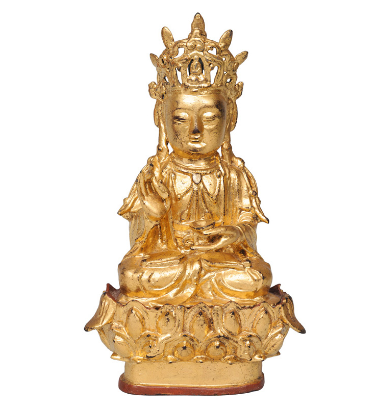 "A gilt bronze figure ""Guanyin on lotus base"""