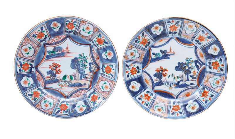 A pair of Imari-plates with landscape painting