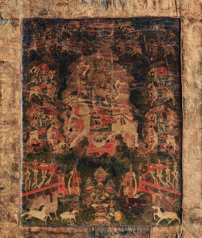 "A fine Thangka with protecting deity ""Gesar Ling"""