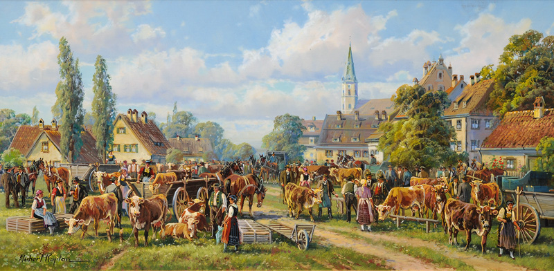 Cattle Market outside a Town