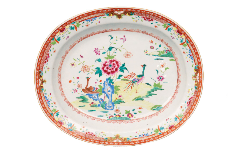 A large oval Famille-Rose plate with phoenix
