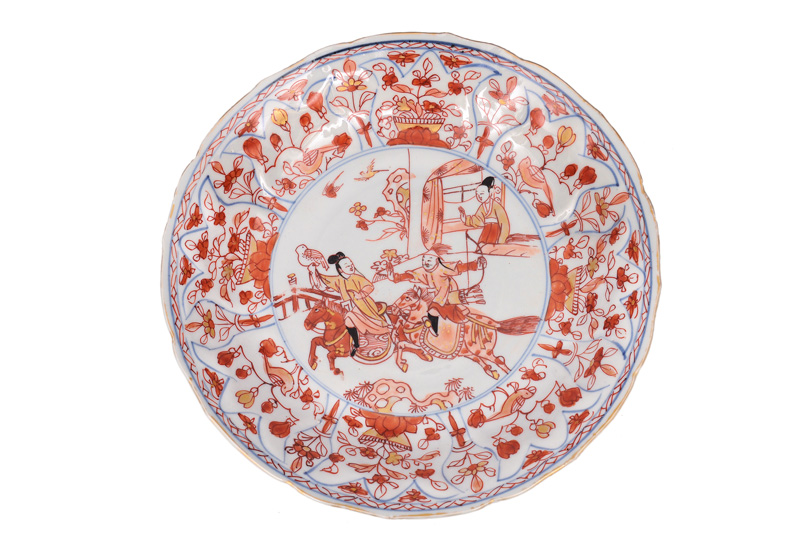 A plate with falconing scene