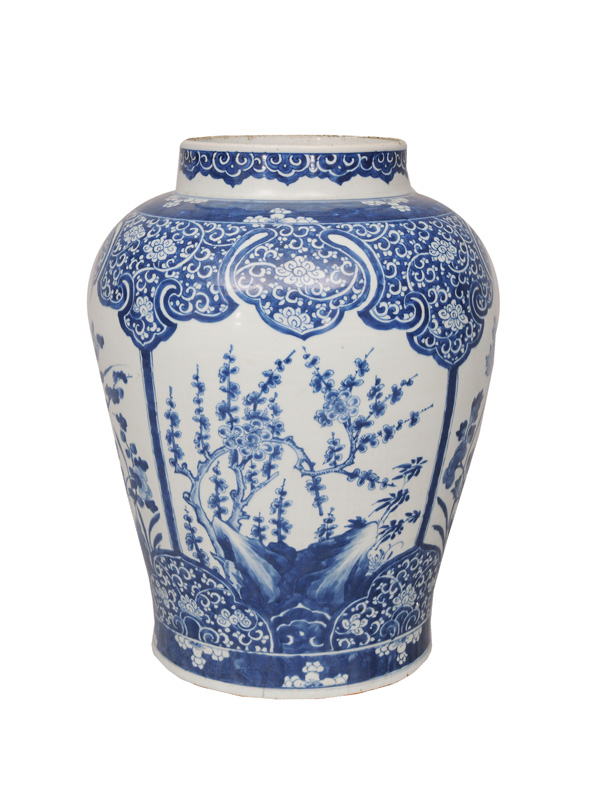 A tall shoulder pot with lotus and plum blossoms