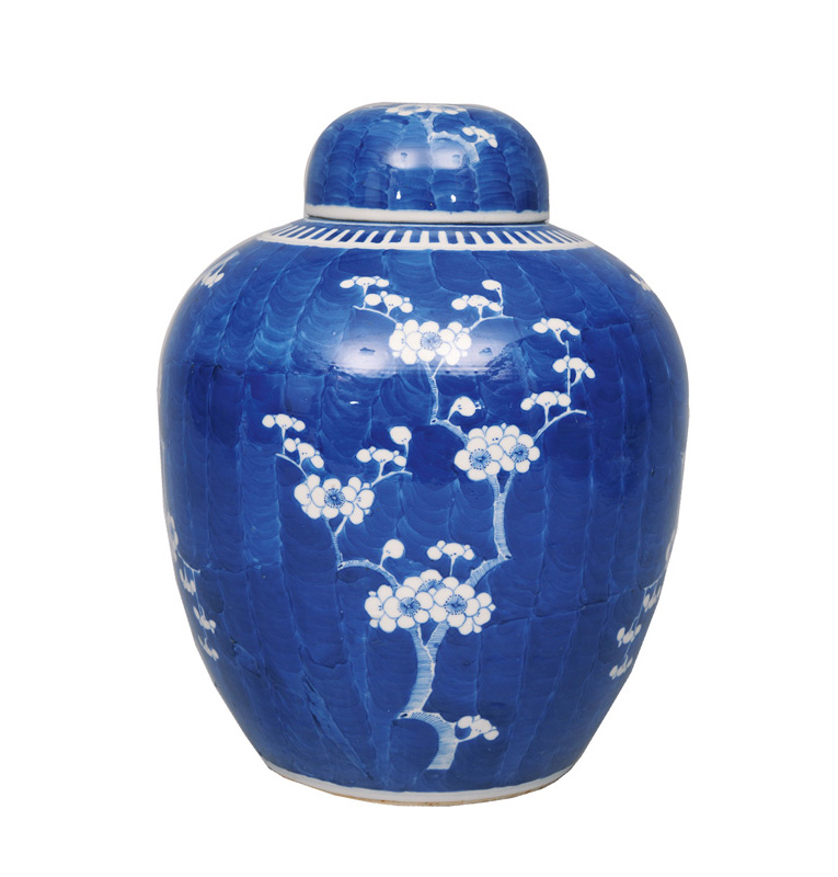 A tall ginger jar with plum blossoms