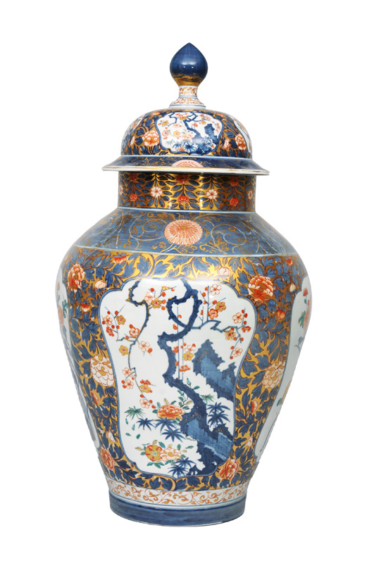 A very tall Imari vase with cover