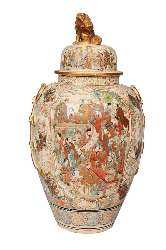 An exceptional tall Satsuma cover vase with Rakans