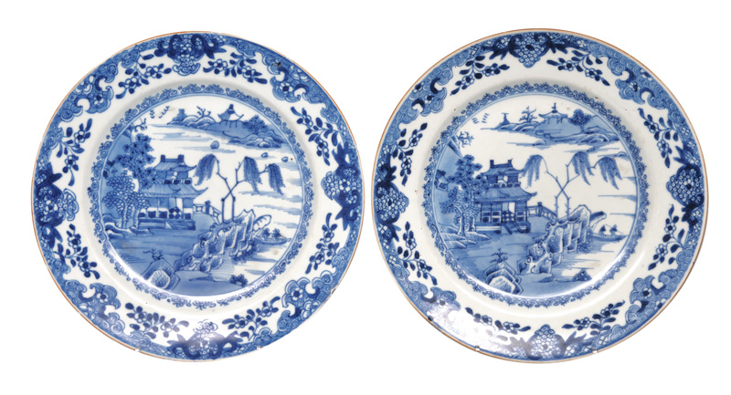 A pair of plates with riverside