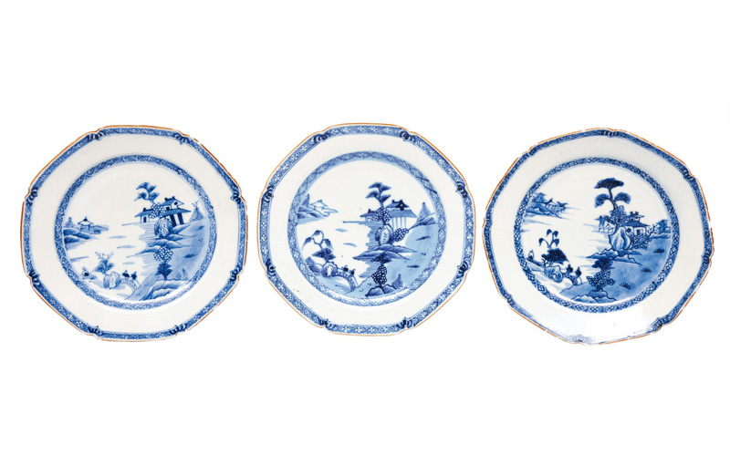 A set of 3 plates with landscapes
