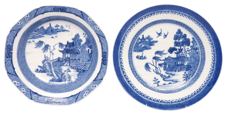 Two plates with pagodas