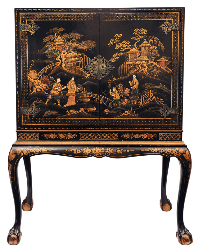 A lacquered cabinet with chinese garden scenes