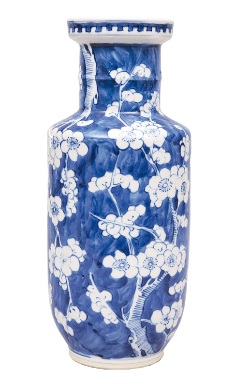 A rouleau vase with plum blossoms