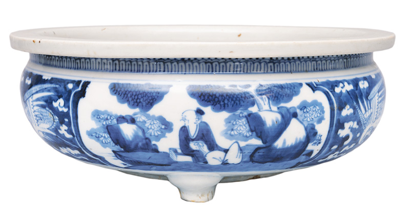 "A large narcissus bowl with scholar""s scenes and phoenix birds"