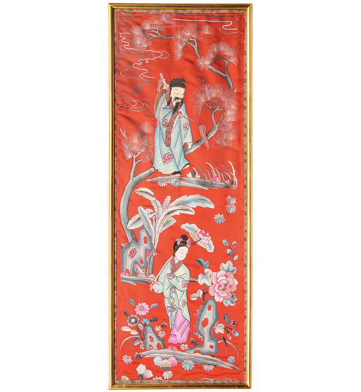 "A set of 4 silk embroideries with the ""8 Immortals"""