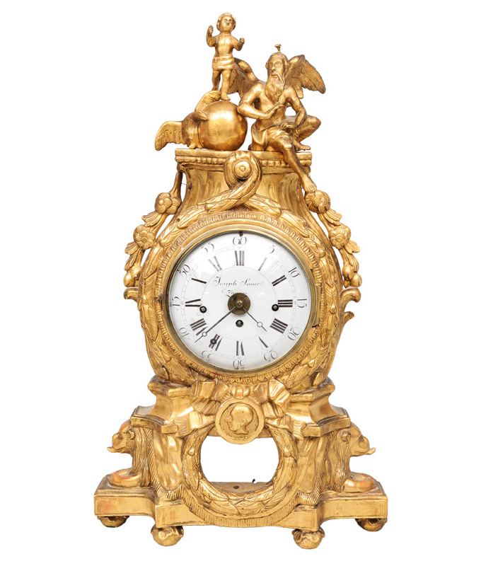 A Louis-Seize mantle clock with chronos and putto