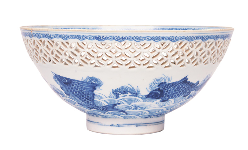 A fine bowl with rare fish decoration and fretwork rim
