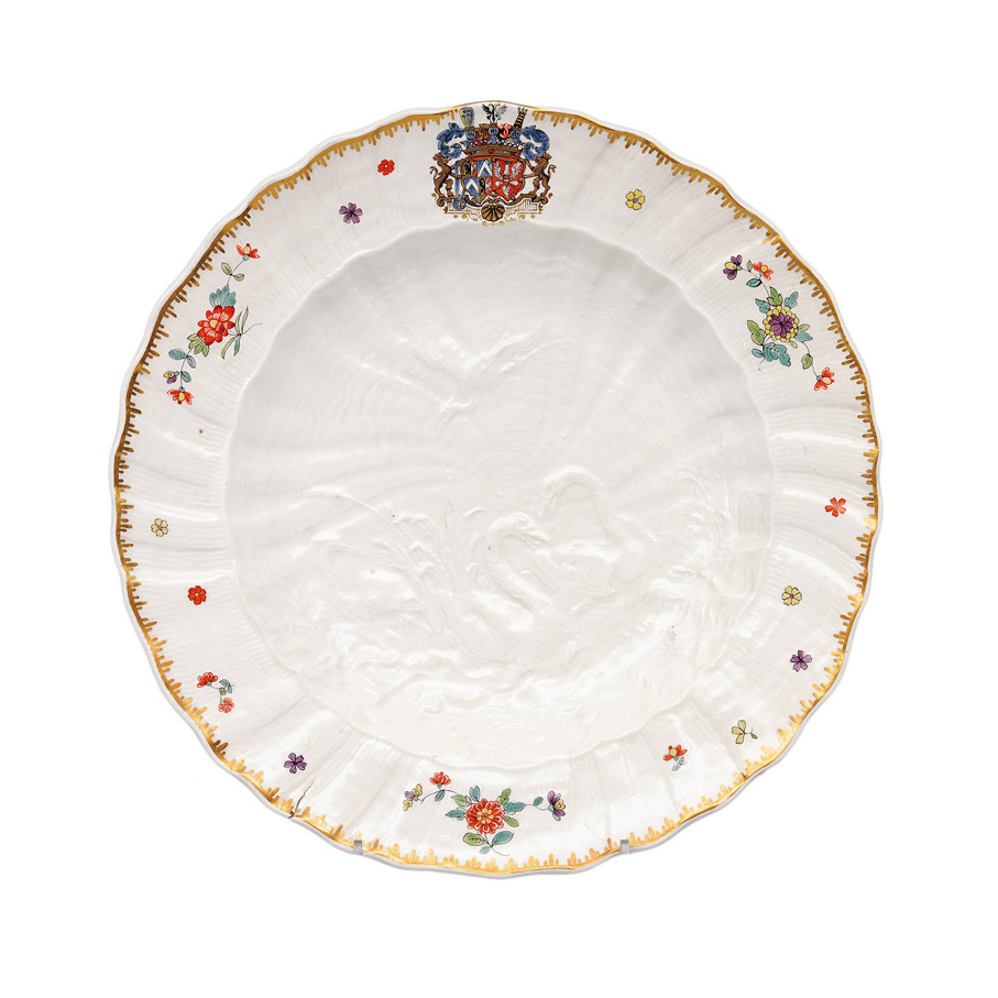 "A plate of the legendary ""Swan"" service"""