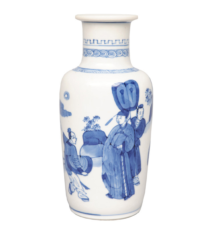 A rouleau vase with figural scene