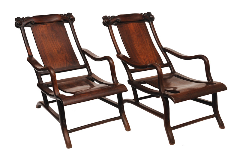 "A rare pair of Huanghuali ""moon gazing"" chairs"