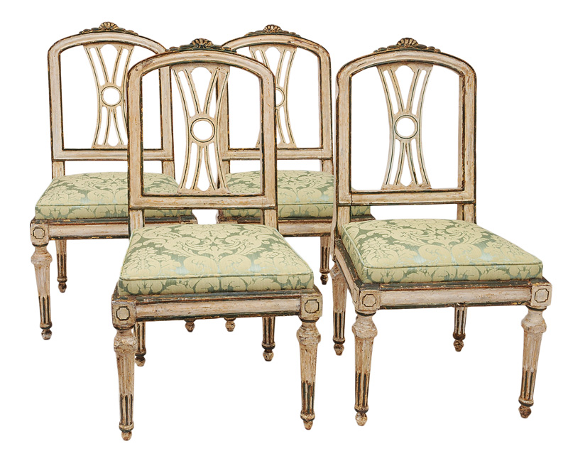 A set of 4 coloured provençal chairs of Transition