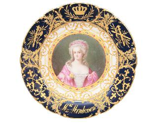 "A plate with a portrait of ""Mme. de Montesson"" from the palace of Versailles"