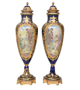 A pair of Sèvres-vases with romantic scenes