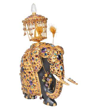 An magnicifent figurine of a jewel-embellished elephant