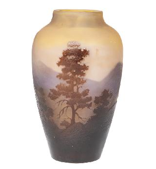 A vase with mountain landscape