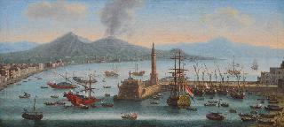 Port of Naples with Mount Vesuvius