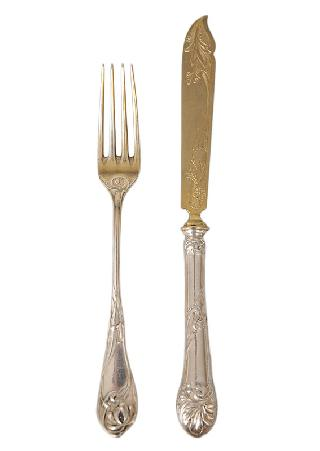 "An Art Nouveau fruit cutlery ""Iris"" for 8 persons"