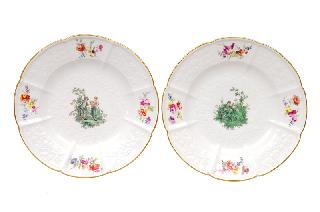 A pair of plates with Watteau scenes