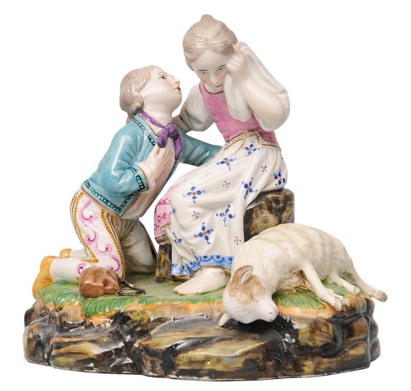 "A figurine group ""Mourning about the dead lamb"""