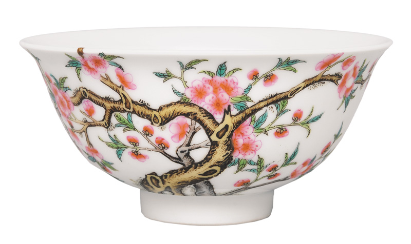 A bowl with plum blossoms and birds