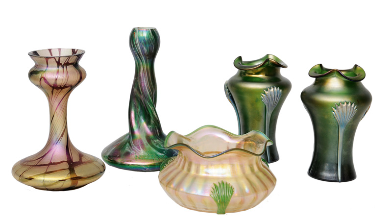 Five Art Nouveau vases