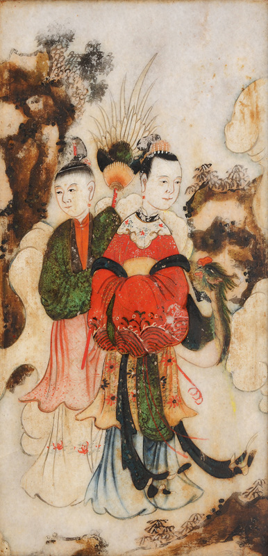 A pair of stone-painting with Taoist deities