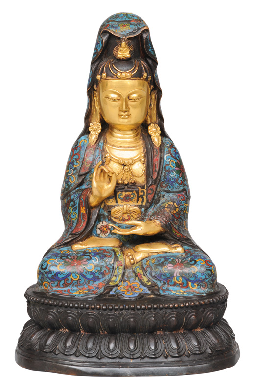 "A bronze figure ""Guanyin"" with cloisonné-coat"