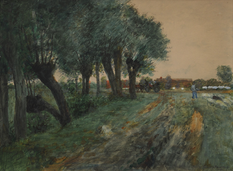 Landscape with Willow Trees and Horse Cart