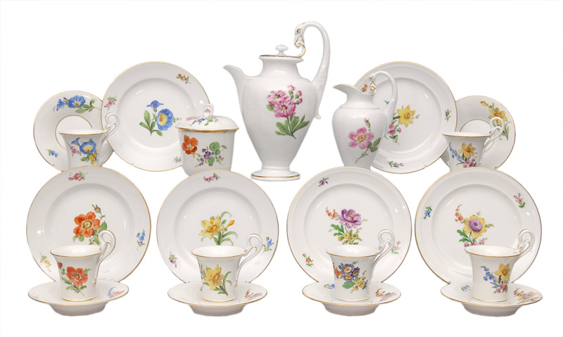 "A coffee service ""Feldblume"" with swan""s neck handle for 6 persons"