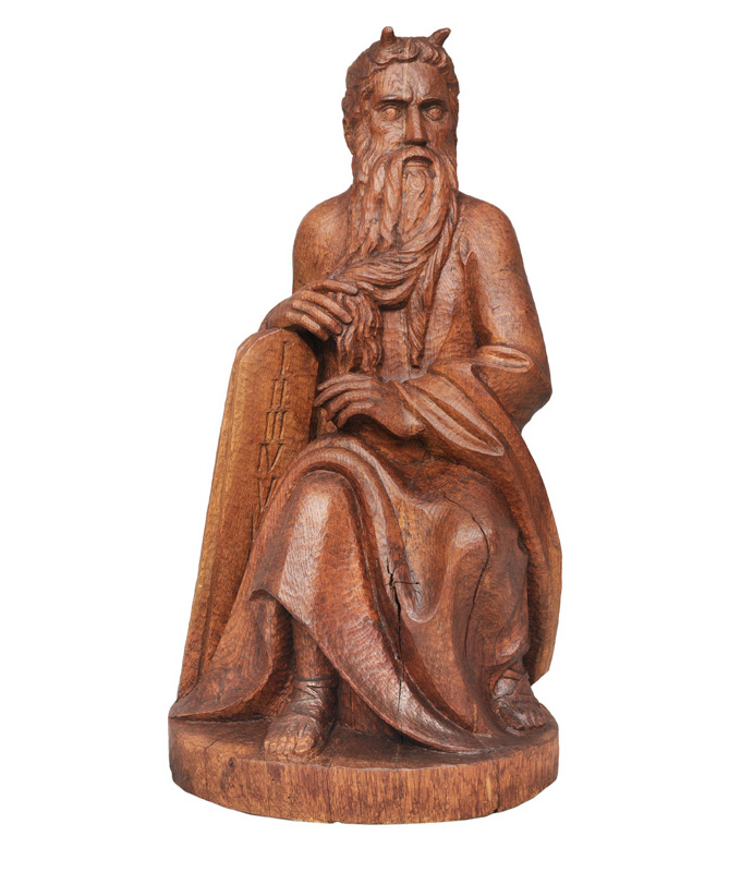 "An expressive wood figure ""Moses"""