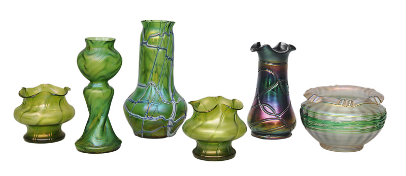Six Art Nouveau vases with applied filament decor