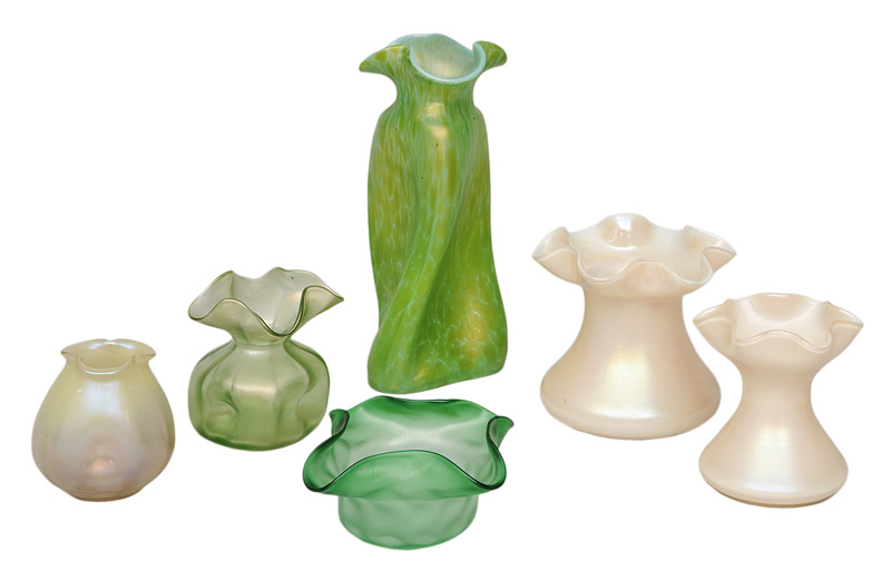 Six Art Nouveau vases with curved rim